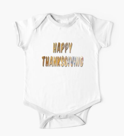 Happy Thanksgiving Distressed Wood Words One Piece - Short Sleeve