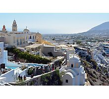 28.09.2016 Photography of traditional and famous white houses over the Caldera, Aegean sea in Santorini island, Greece. Photographic Print