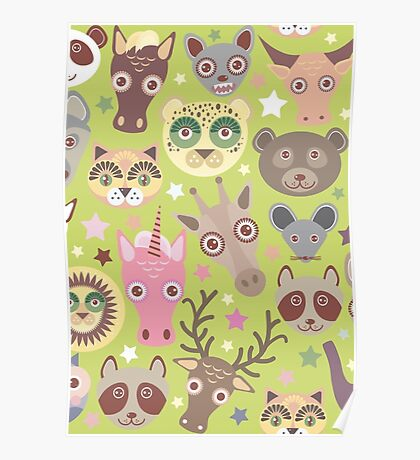 Funny animals on green Poster