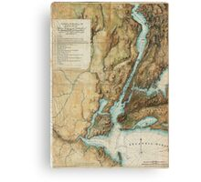 Vintage Map of New York City Harbor (1864)  Canvas Print