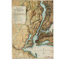 Vintage Map of New York City Harbor (1864)  Photographic Print