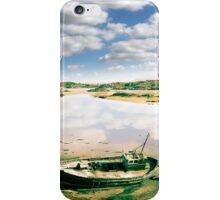 old abandoned beached fishing boat on Donegal beach iPhone Case/Skin