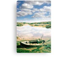 old abandoned beached fishing boat on Donegal beach Metal Print