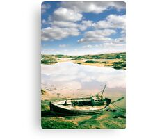 old abandoned beached fishing boat on Donegal beach Canvas Print