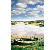 old abandoned beached fishing boat on Donegal beach Photographic Print