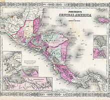 Vintage Map of Central America (1864) by BravuraMedia