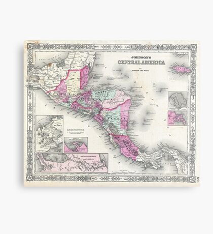 Vintage Map of Central America (1864) Metal Print