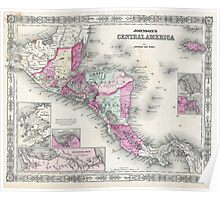 Vintage Map of Central America (1864) Poster
