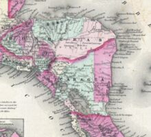 Vintage Map of Central America (1864) Sticker