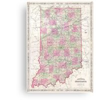 Vintage Map of Indiana (1864) Canvas Print