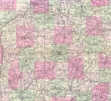 Vintage Map of Indiana (1864) Sticker