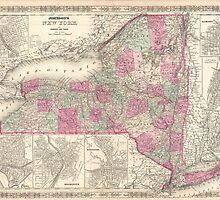 Vintage Map of New York (1864) by BravuraMedia