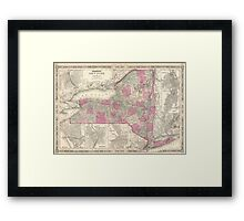 Vintage Map of New York (1864) Framed Print