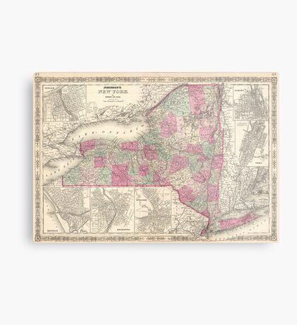 Vintage Map of New York (1864) Metal Print
