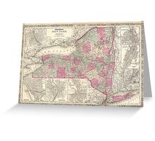 Vintage Map of New York (1864) Greeting Card