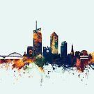 Lyon France Skyline by Michael Tompsett