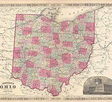 Vintage Map of Ohio (1864)  by BravuraMedia