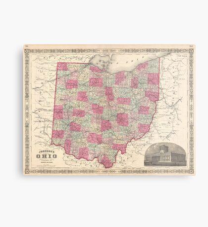 Vintage Map of Ohio (1864)  Metal Print