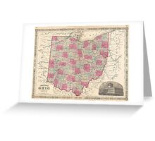 Vintage Map of Ohio (1864)  Greeting Card