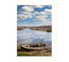 old beached fishing boat on Donegal beach Art Print
