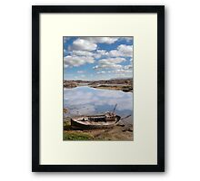 old beached fishing boat on Donegal beach Framed Print