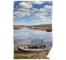 old beached fishing boat on Donegal beach Poster
