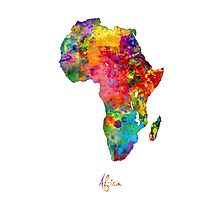 Africa Watercolor Map Photographic Print