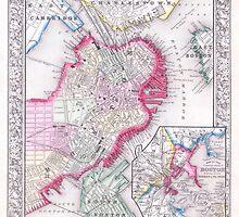 Vintage Map of Downtown Boston (1864) by BravuraMedia