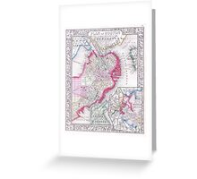Vintage Map of Downtown Boston (1864) Greeting Card