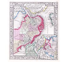 Vintage Map of Downtown Boston (1864) Photographic Print