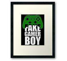 Fake Gamer Boy - Xbox - White Text Framed Print