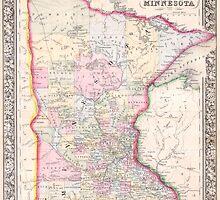 Vintage Map of Minnesota (1864) by BravuraMedia