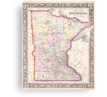 Vintage Map of Minnesota (1864) Canvas Print