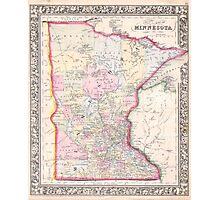 Vintage Map of Minnesota (1864) Photographic Print