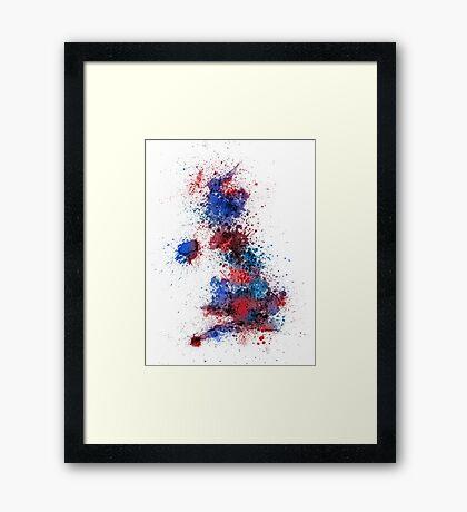 Great Britain UK Map Paint Splashes Framed Print