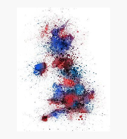 Great Britain UK Map Paint Splashes Photographic Print