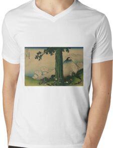 Mishima Pass in Kai Province - Hokusai Katsushika - 1890 Mens V-Neck T-Shirt