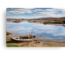 old beached fishing boat on Irish beach Canvas Print