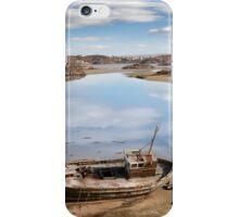 old beached fishing boat on Irish beach iPhone Case/Skin