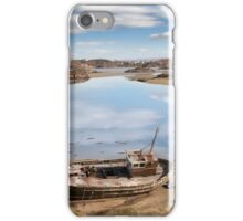 old beached fishing boat on Irish beach iPhone Case/Skin
