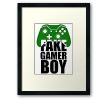 Fake Gamer Boy - Xbox - Black Text Framed Print