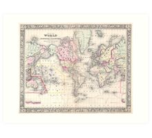 Vintage Map of The World (1864) Art Print