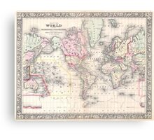 Vintage Map of The World (1864) Canvas Print