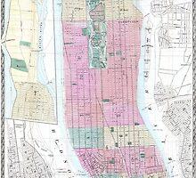 Vintage Map of Lower Manhattan (1865) by BravuraMedia