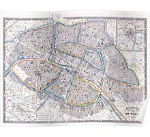 Vintage Map of Paris (1865) Poster