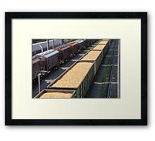 rail cars loaded with wood chip Framed Print