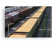 rail cars loaded with wood chip Canvas Print