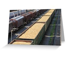 rail cars loaded with wood chip Greeting Card