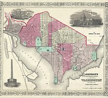 Vintage Map of Washington D.C. (1866) by BravuraMedia