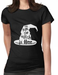 Run The Witch Is Here Halloween Party Outfit Costume Womens Fitted T-Shirt